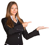 Businesswoman points fingers toward