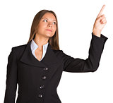 Businesswoman pointing her finger forward