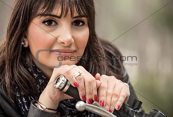 Attractive woman on motorcycle