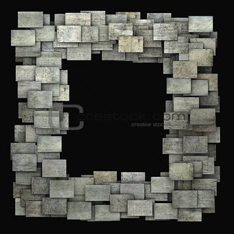 3d gray frame tile grunge pattern on black