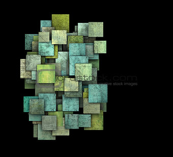3d green square tile grunge pattern on black