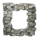 3d gray frame tile grunge pattern on white