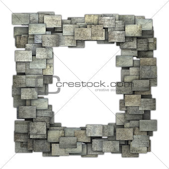 3d gray frame tile grunge pattern on white