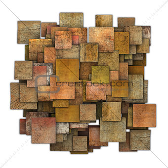 3d orange red brown square tile grunge pattern on white