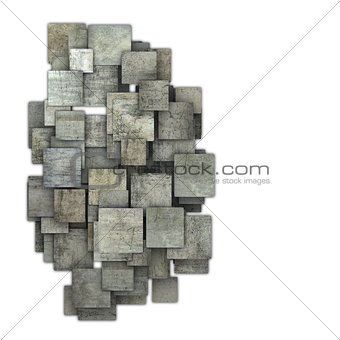 3d gray square tile grunge pattern on white