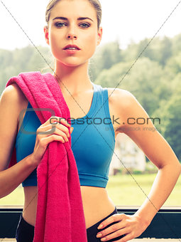 Sexy woman wearing sports clothing