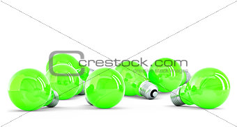 Group of green light bulbs