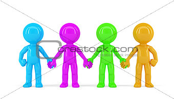 Group of People Holding Hands. Isolated