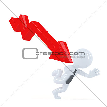 Business man running away from the down trend graph. Isolated