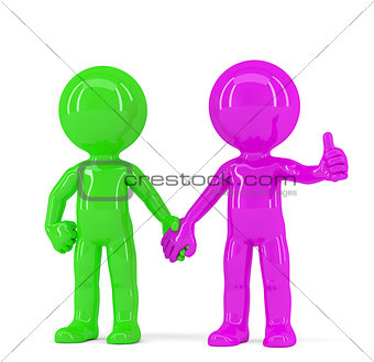 A pair of holding hands colorful people