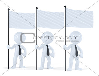 Group of businesspeople with flags. Isolated. Contains clipping path