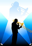 Trumpet Musician under the Bright Lights