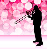 Trumpet Musician on Pink Lens Flare Background