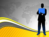 Businessman on World Map Background