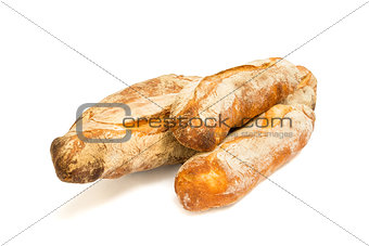 Fresh baguettes isolated on white background
