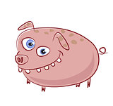funny and crazy caricature pig character