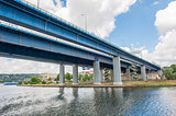 Large bridge over river in city