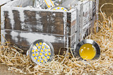 GU10 LED bulbs on straw in front of old  box