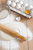 Yeast dough with rolling-pin