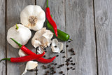 Garlic and peppers background