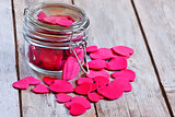 Hearts in jar