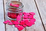 Hearts in jar