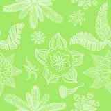 A seamless green flower background
