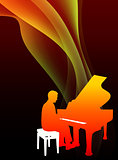 Piano Musician on Abstract Flowing Flame Background