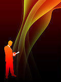 Businessman on Abstract Flowing Flame Background