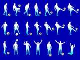 Blue Soccer Player Silhouette Collection