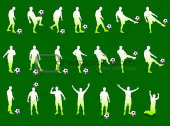 Green Soccer Player Silhouette Collection