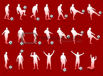 Red Soccer Player Silhouette Collection