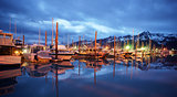 Seward Marina and Boats in the Middle of the Night Smooth Water