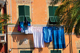 Clothes hanging in Lerici - Liguria - Italy