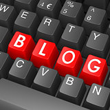 Black keyboard with blog word