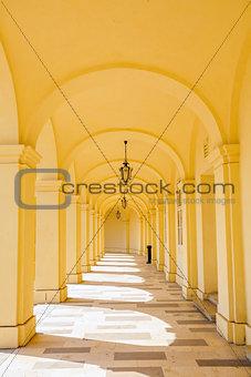 Arcade gallery of Schoenbrunn palace in Vienna