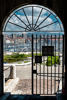 Old Port of Marseille. View through the ancient gates