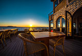 Open air restaurant at sunset