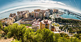 Panoramic view of Malaga bullring and harbor. Spain