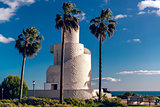View of Torre Mirador in the Battery Park. Torremolinos, Spain