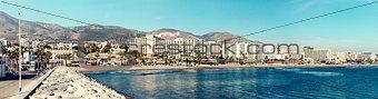 Beautiful day view of Benalmadena coast. Malaga, Spain