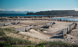 Breakwater in Tarifa beach. Andalusia, Spain