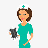 Smiling nurse with tablet pc.