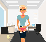 Blonde woman flirting in office using tablet pc.