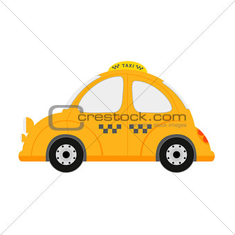 Small taxi car isolated on white.