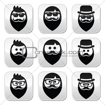 Man with beard with moustache or mustache, hipster buttons set