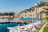Panoramic view of port in Monaco, luxury yachts in a row