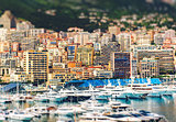 Amazing view of Principality of Monaco with tilt-shift effect