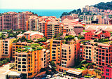 View of Fontvieille architecture. Principality of Monaco