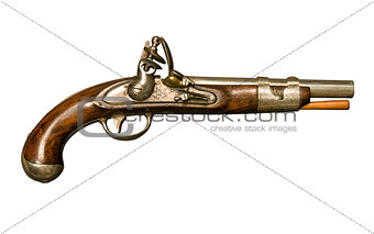 Flintlock pistol isolated against white background